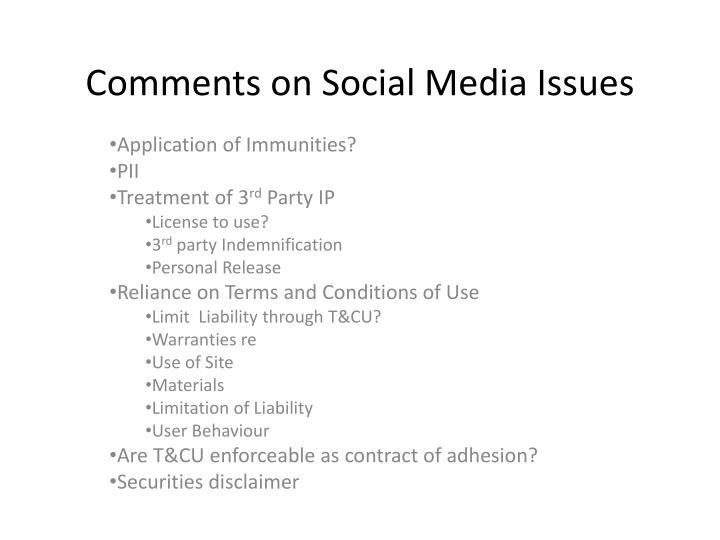 Comments on social media issues