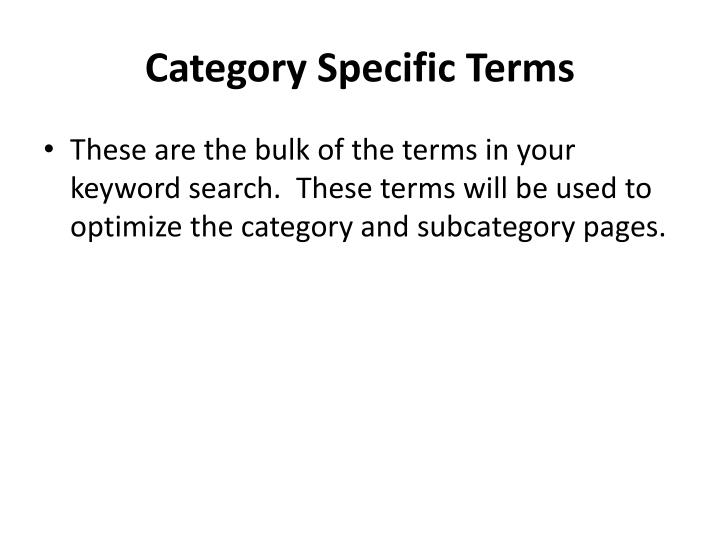 Category Specific Terms