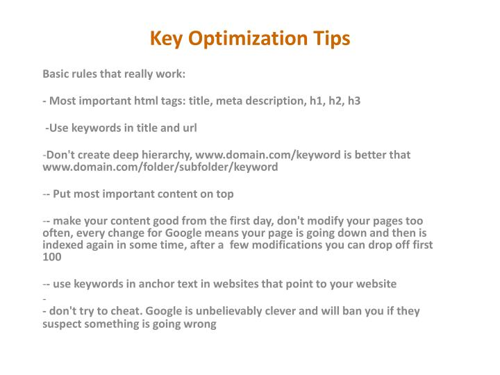 Key Optimization Tips