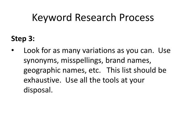 Keyword Research Process