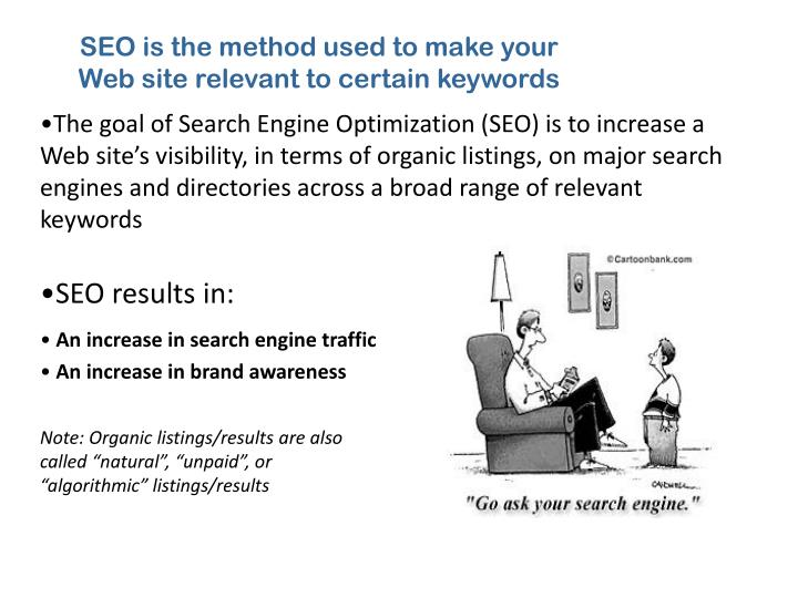 SEO is the method used to make your