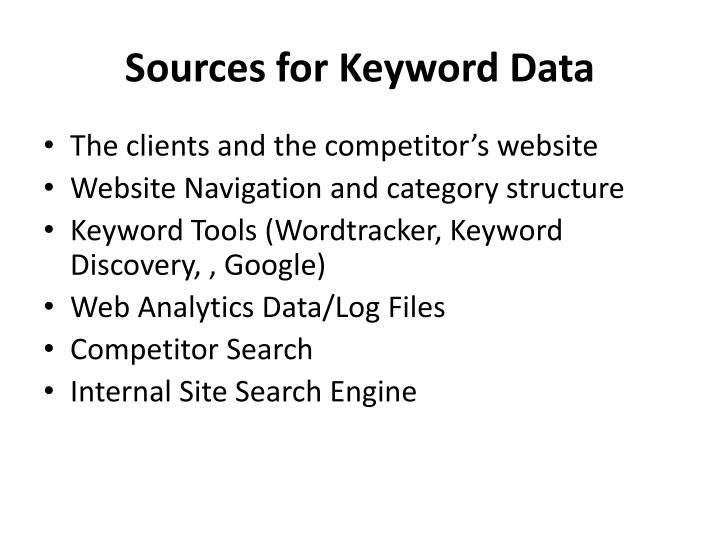 Sources for Keyword Data