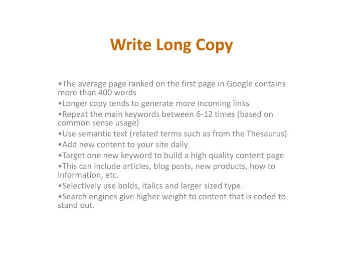Write Long Copy