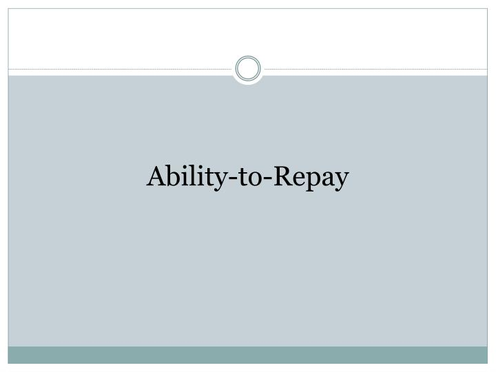 Ability-to-Repay