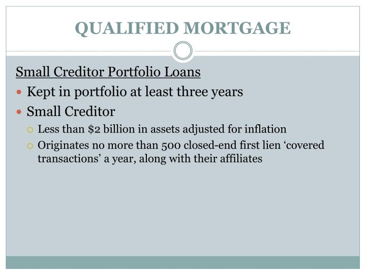 QUALIFIED MORTGAGE