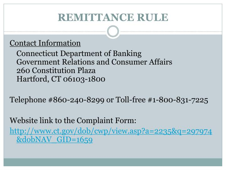 REMITTANCE RULE
