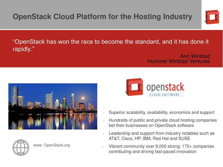 OpenStack Cloud Platform for the Hosting Industry