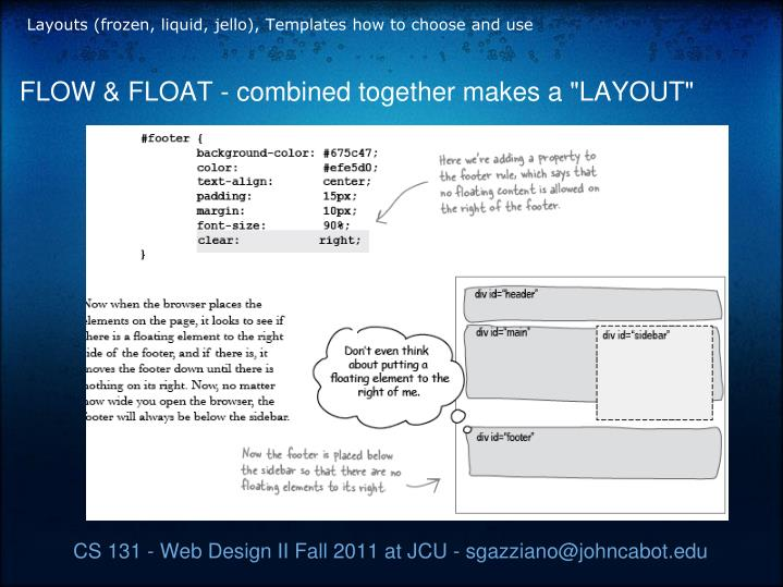 Layouts (frozen, liquid, jello), Templates how to choose and use