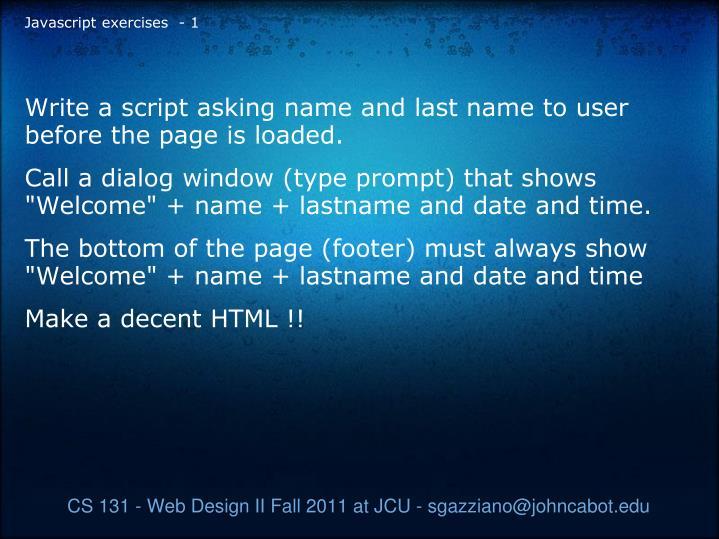 Javascript exercises - 1