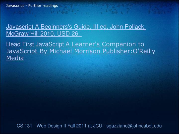 Javascript - Further readings