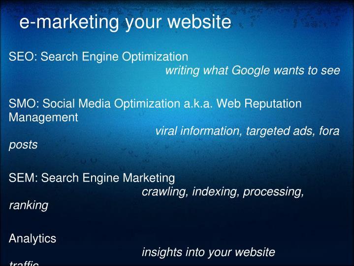 e-marketing your website