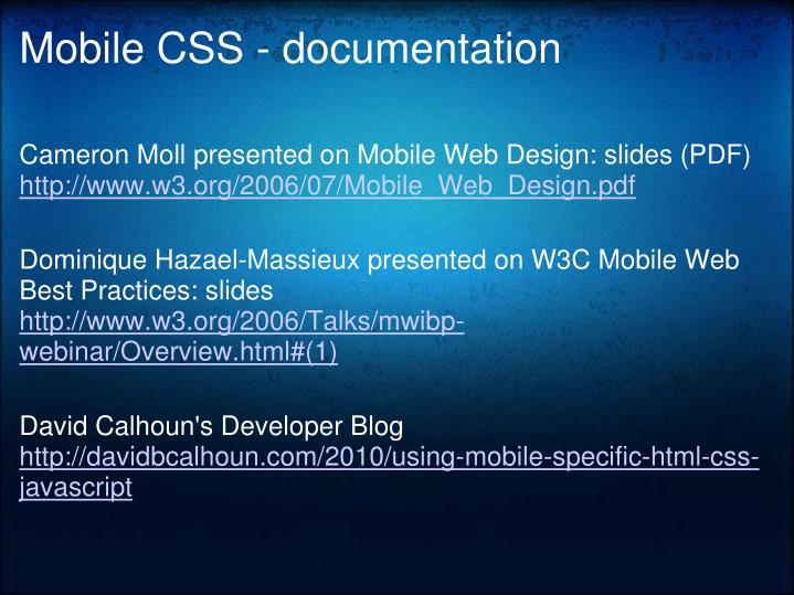 Mobile CSS - documentation