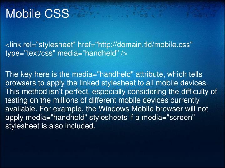 Mobile CSS