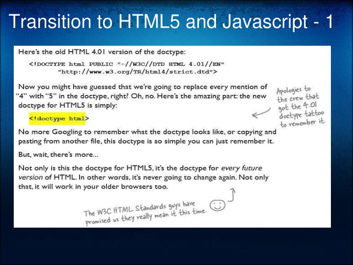 Transition to HTML5 and Javascript - 1