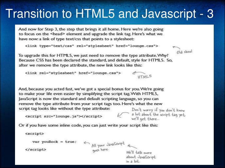 Transition to HTML5 and Javascript - 3