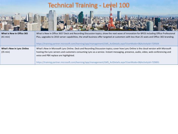 Technical Training - Level 100