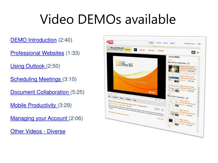Video demos available
