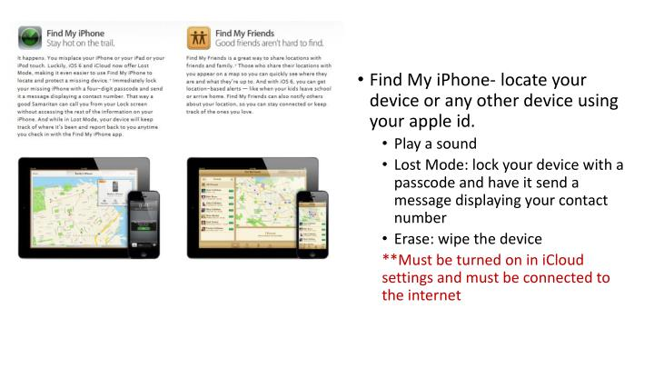 Find My iPhone- locate your device or any other device using your apple id.