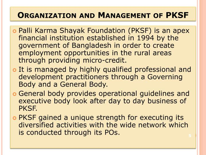 Organization and Management of PKSF