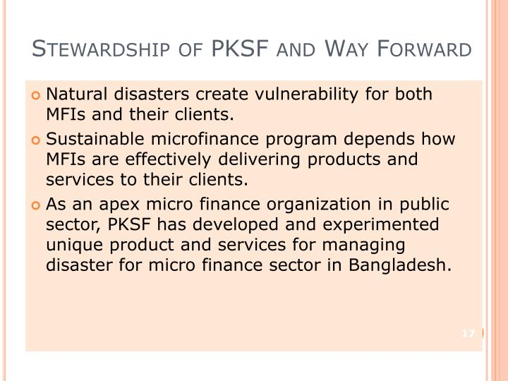 Stewardship of PKSF and Way Forward