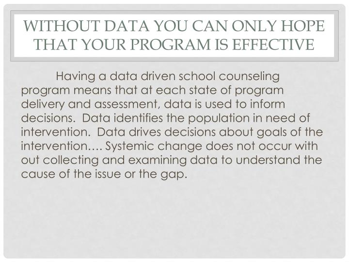 Without data you can only hope that your program is effective