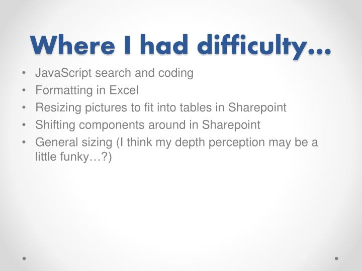 Where I had difficulty…