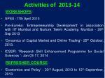 activities of 2013 14