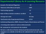 departmental library as a learning resource
