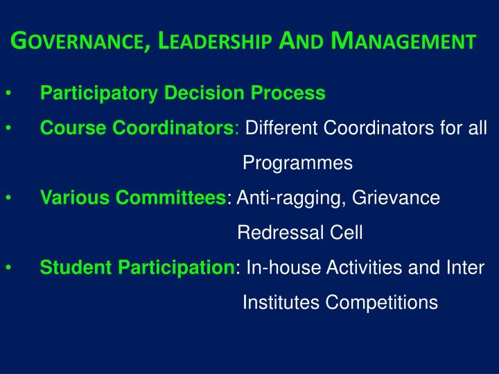 Governance, Leadership And Management