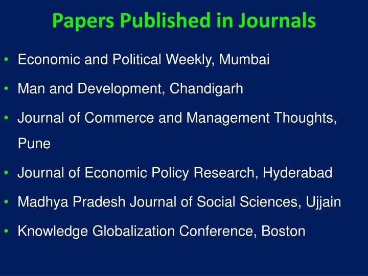 Papers Published in Journals