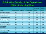 publication details of the department 2009 13 faculty wise