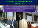 strategies for inclusive growth 22 23 feb 2013