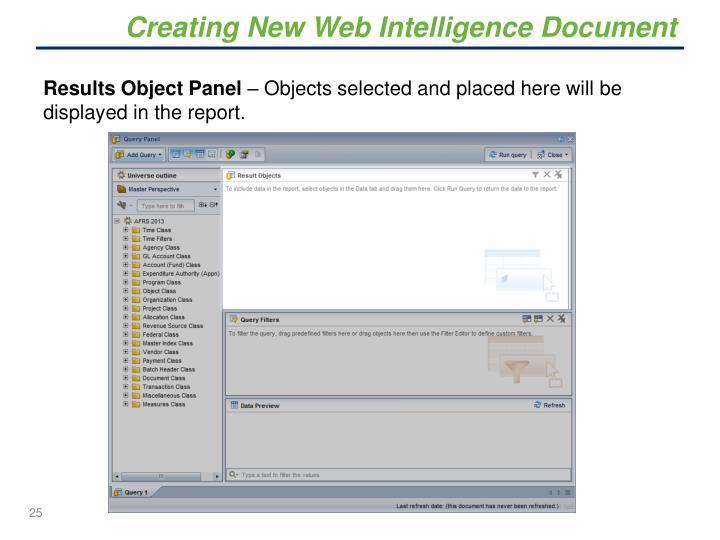 Creating New Web Intelligence Document