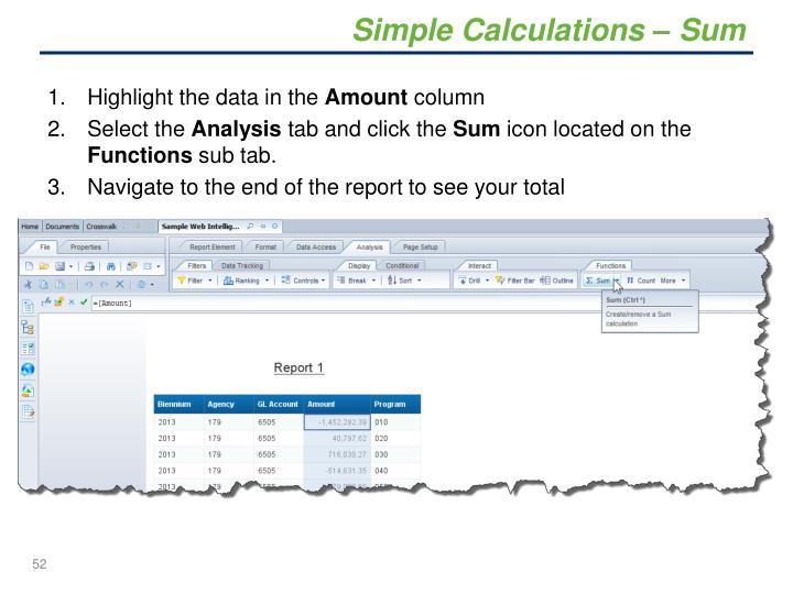 Simple Calculations – Sum