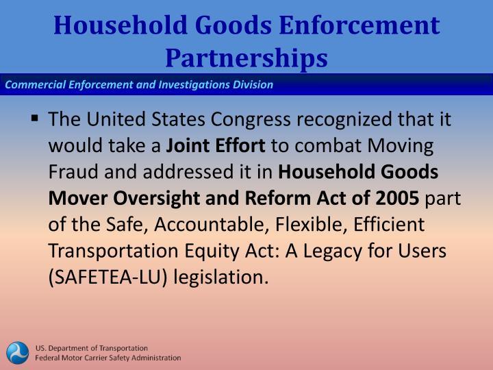 Household Goods Enforcement Partnerships