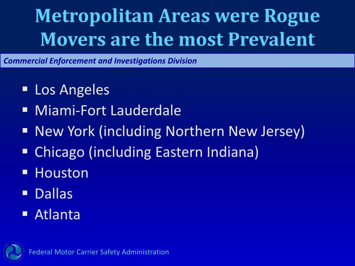 Metropolitan Areas were Rogue Movers are the most Prevalent