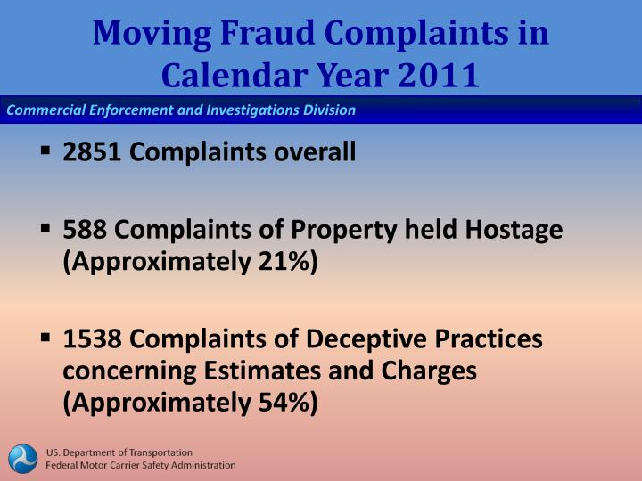 Moving Fraud Complaints in Calendar Year 2011
