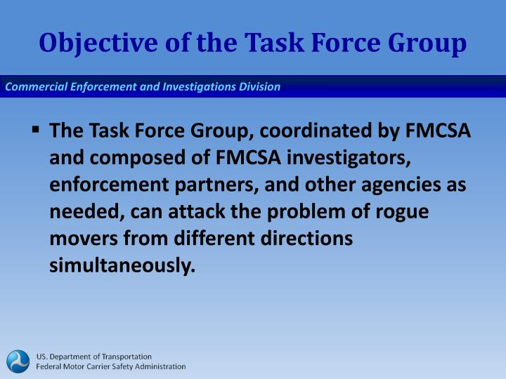 Objective of the Task Force Group
