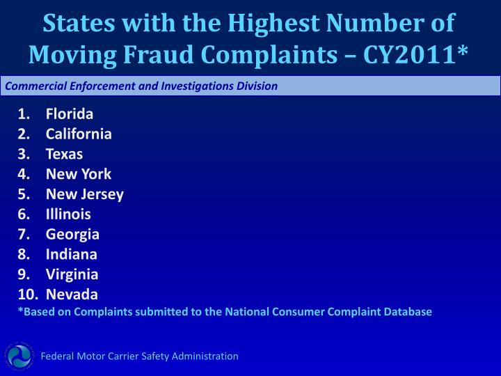 States with the Highest Number of Moving Fraud Complaints – CY2011*