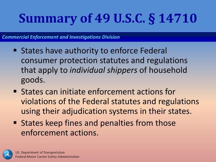 Summary of 49 U.S.C. § 14710