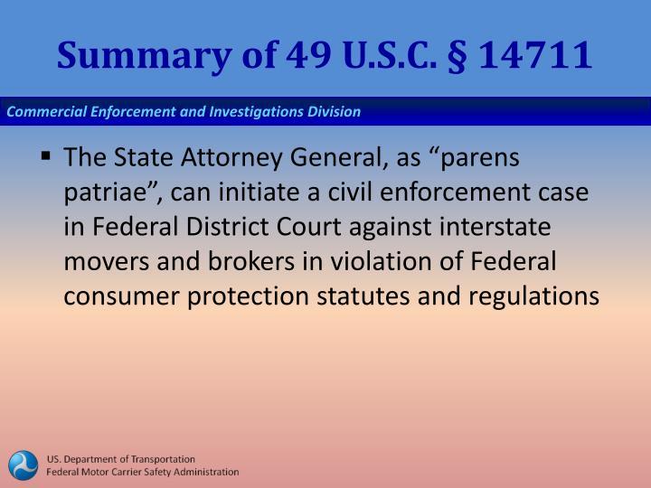Summary of 49 U.S.C. § 14711
