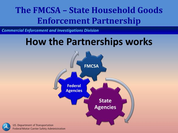 The FMCSA – State Household Goods Enforcement Partnership
