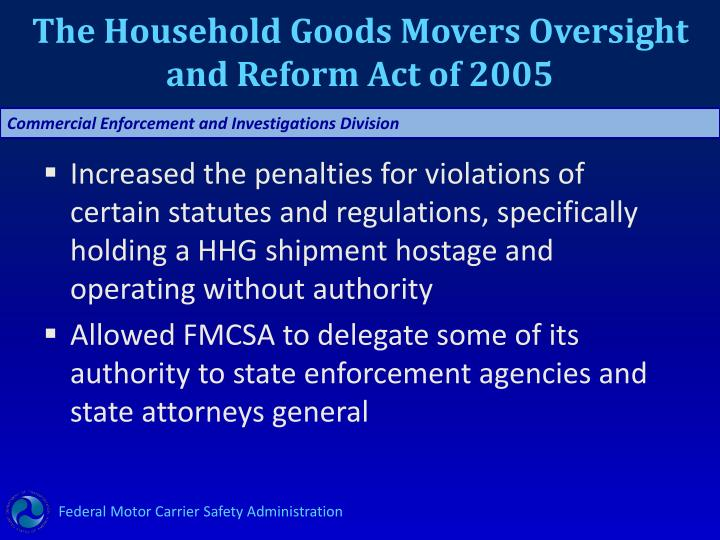 The Household Goods Movers Oversight and Reform Act of 2005