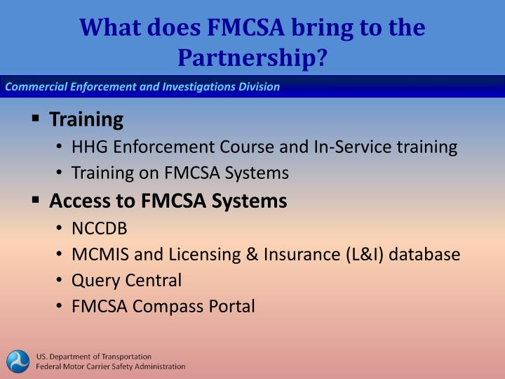 What does FMCSA bring to the Partnership?