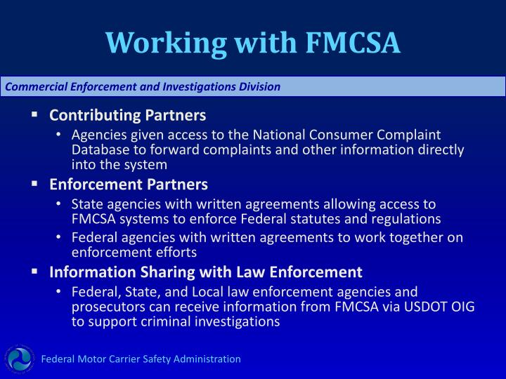 Working with FMCSA