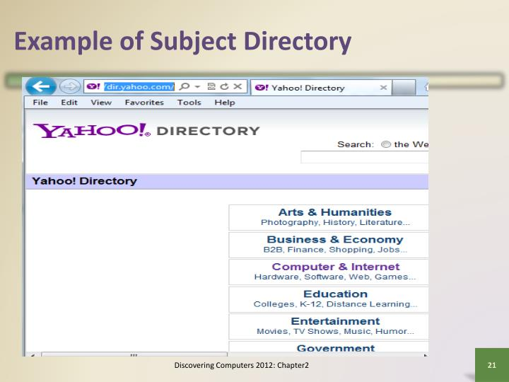 Example of Subject Directory