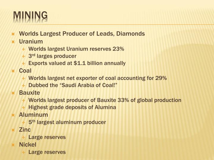 Worlds Largest Producer of Leads, Diamonds