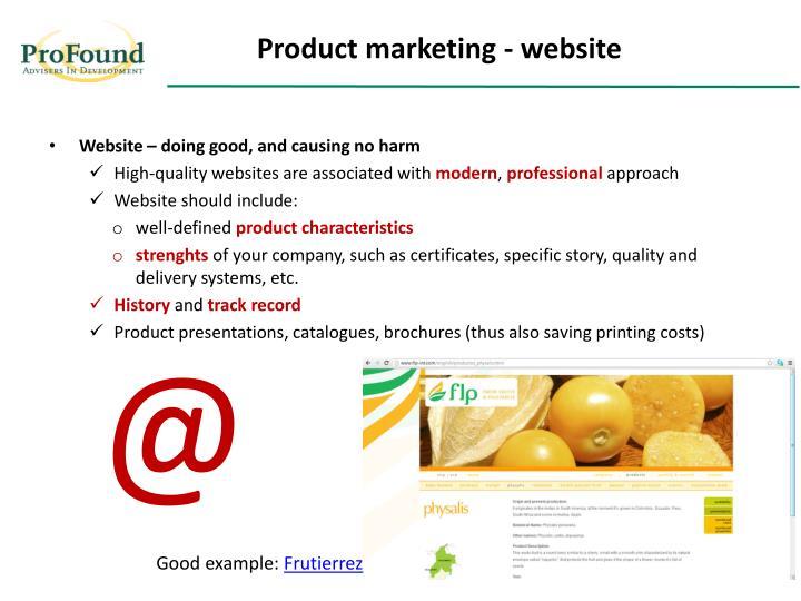Product marketing - website