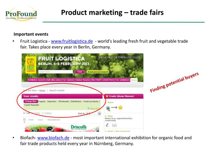 Product marketing – trade fairs