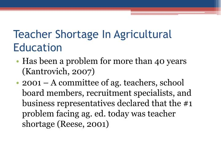 Teacher Shortage In Agricultural Education